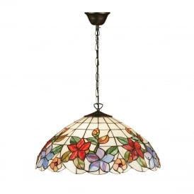 COUNTRY BORDER Tiffany ceiling pendant with floral art glass shade - large