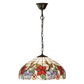 COUNTRY BORDER Tiffany ceiling pendant with floral art glass shade - medium