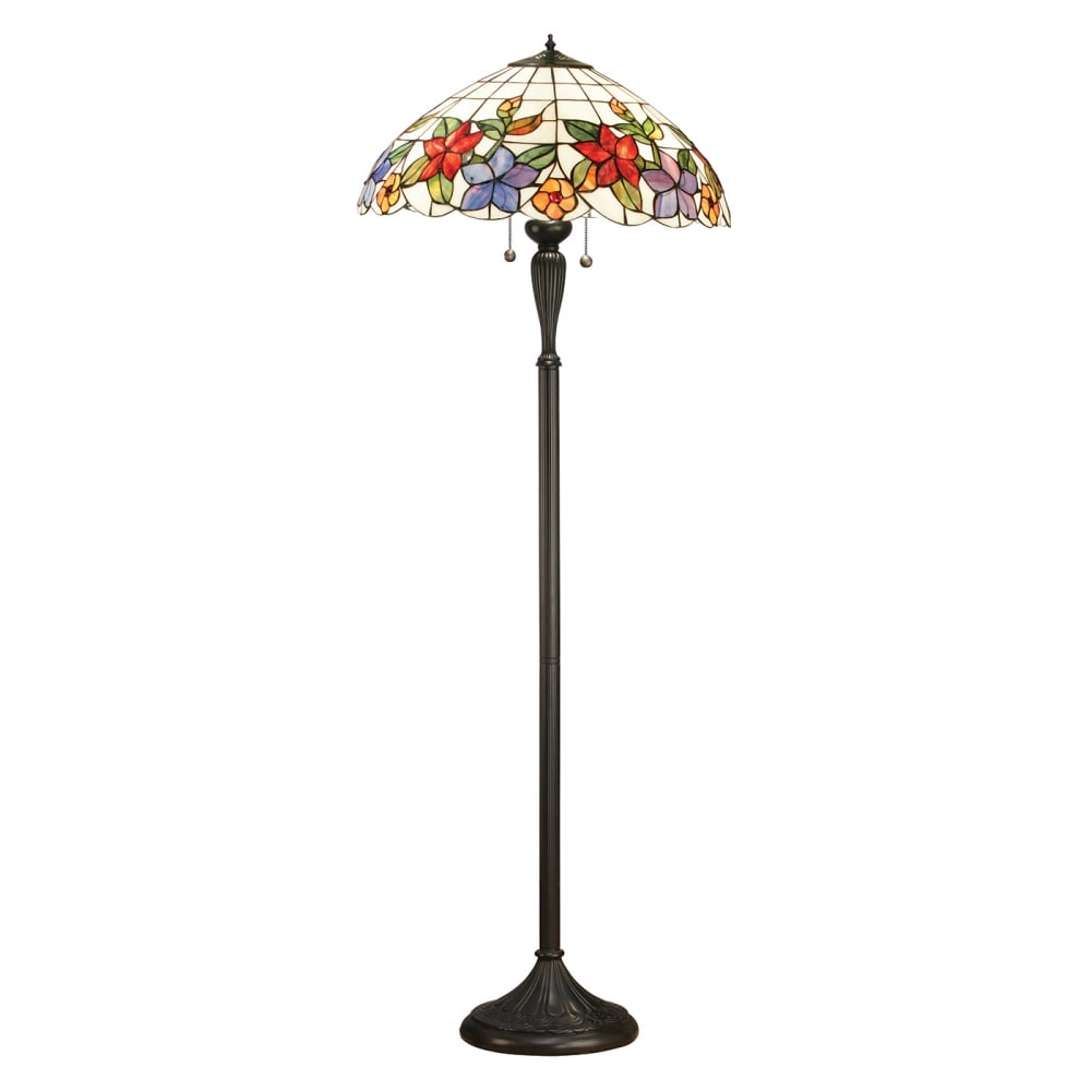 Tiffany bronze base standard lamp art glass shade with floral border country border tiffany floor lamp with floral art glass shade on bronze base aloadofball Images