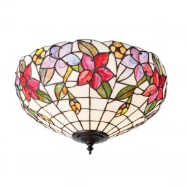 COUNTRY BORDER Tiffany flush fit ceiling light with floral art glass shade