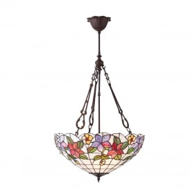 COUNTRY BORDER Tiffany hanging inverted ceiling light with floral art glass shade - large