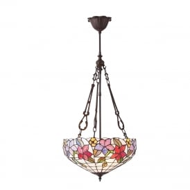 COUNTRY BORDER Tiffany hanging inverted ceiling light with floral art glass shade - medium