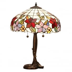 COUNTRY BORDER Tiffany table lamp with floral art glass shade on bronze base