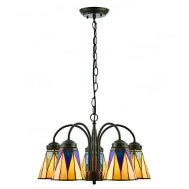 DARK STAR Art Deco 5 arm ceiling light with downward facing Tiffany glass shades