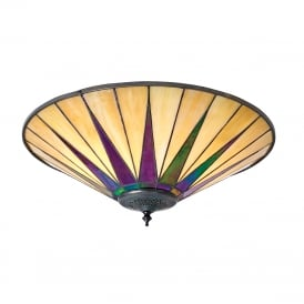 DARK STAR flush fitting Tiffany Art Deco light for low ceilings