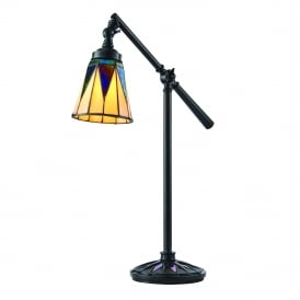 DARK STAR Tiffany Art Deco desk lamp with adjustable arm