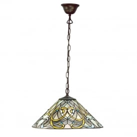 DAUPHINE hanging Tiffany ceiling pendant in Art Nouveau style