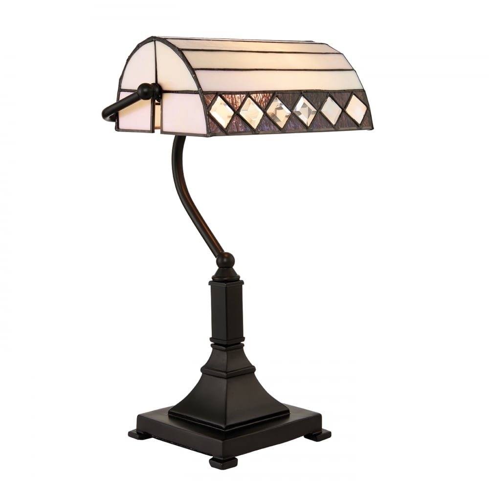 Traditional Bankers Lamp Task Light Bronze Base And White Glass Shade