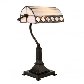 FARGO Art Deco bankers desk lamp with Tiffany glass shade