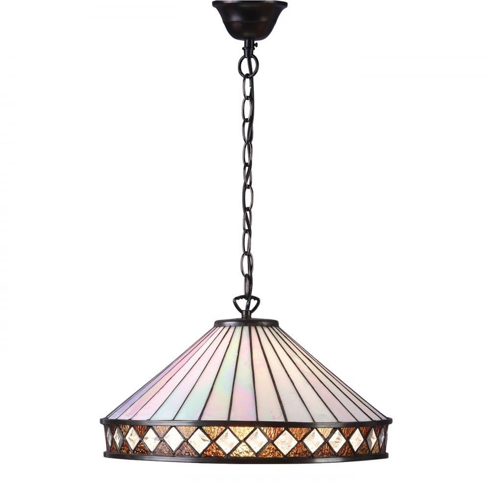 art deco style tiffany hanging ceiling pendant light diamond border
