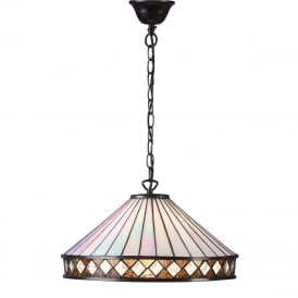 FARGO Art Deco Style Tiffany ceiling pendant light, large