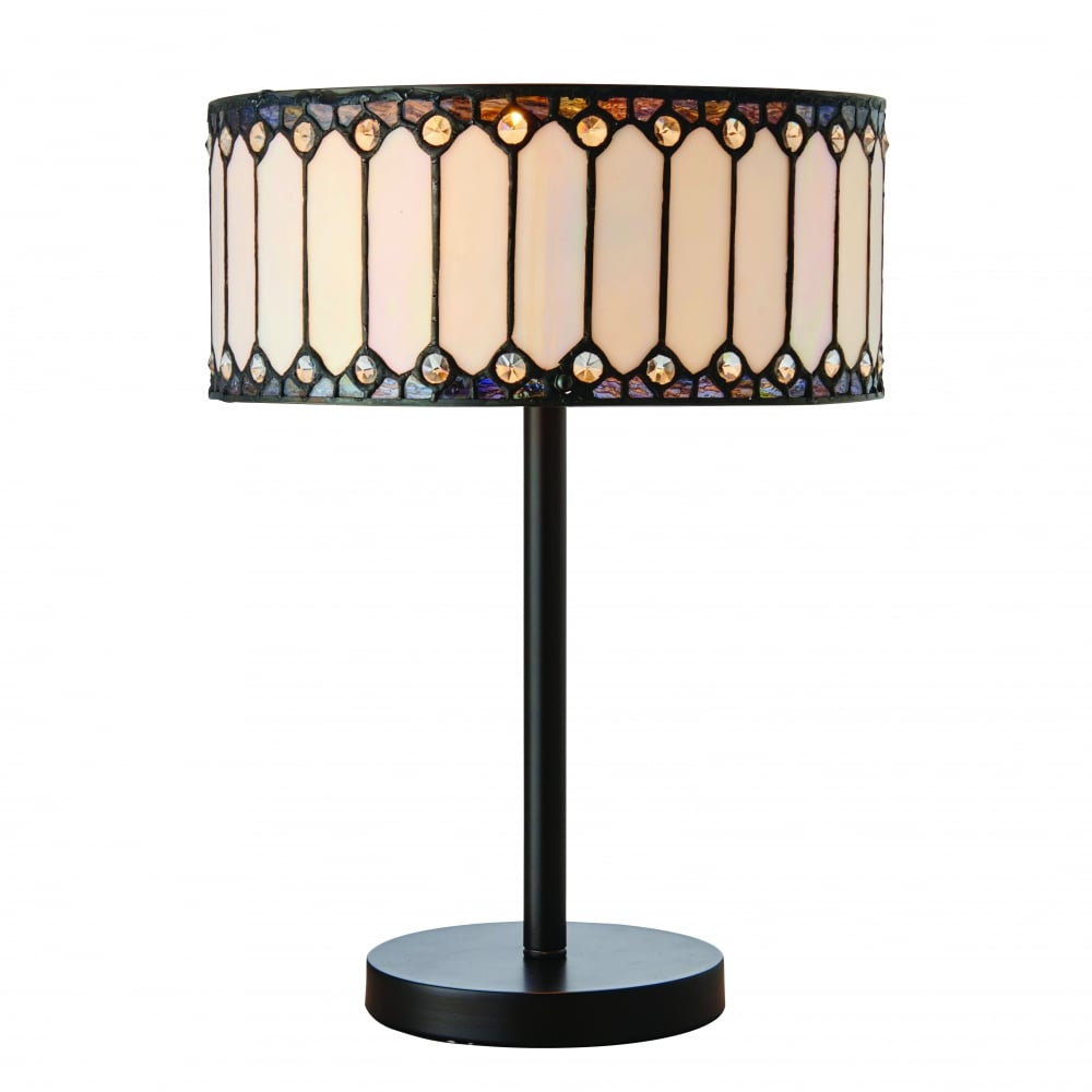 Modern Art Deco Table Lamp With Iridescent White Tiffany Glass Shade