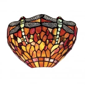 FLAME DRAGONFLY Tiffany wall uplighter