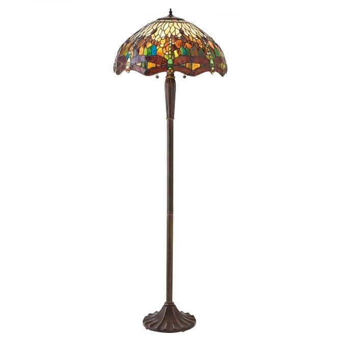 Tiffany Green Dragonfly Floor Lamp on Dark Bronze Base