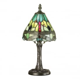 GREEN DRAGONFLY small mini Tiffany table lamp