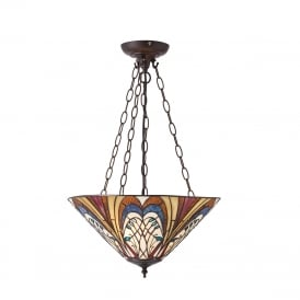 HECTOR Art Nouveau inverted or uplighter Tiffany ceiling pendant