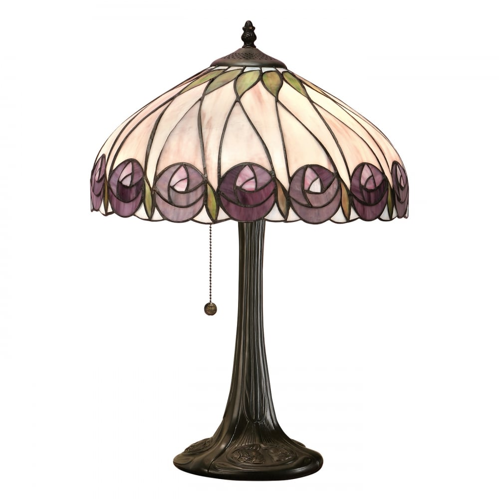 Hand Crafted Tiffany Table Lamp with Plum Coloured Art Nouveau Flowers
