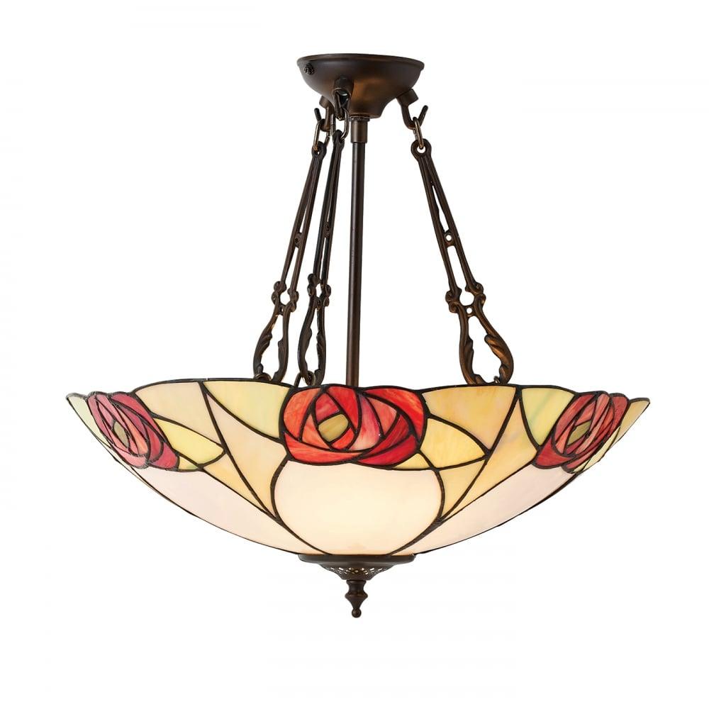 Tiffany Uplighter Ceiling Light, Art Nouveau Mackintosh