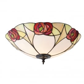 INGRAM Tiffany flush fitting low ceiling light, Art Nouveau