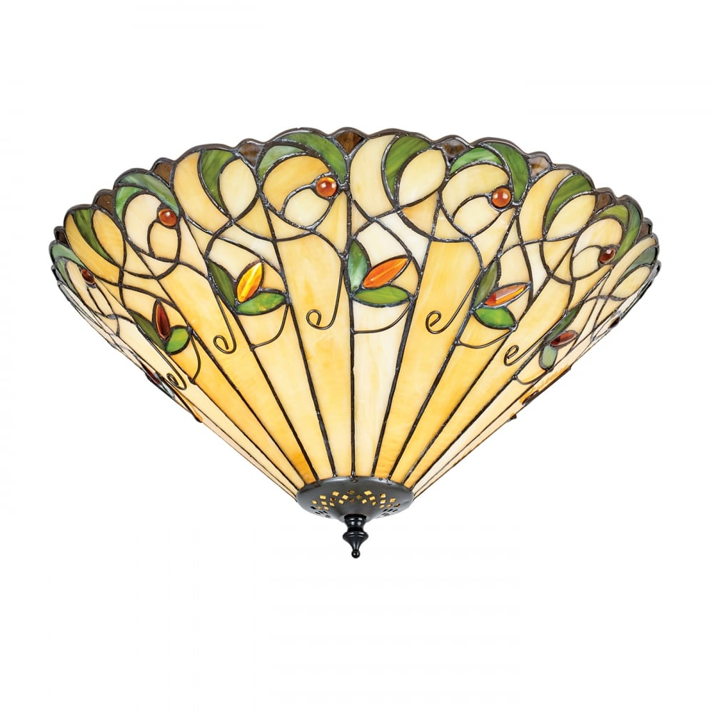 Flush Fit Tiffany Ceiling Light With Floral Pattern On