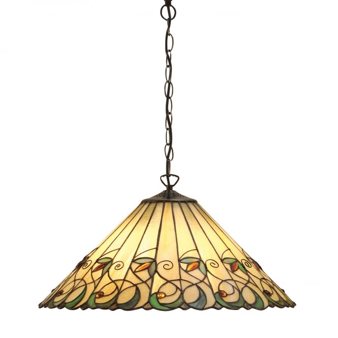 Kensington Tiffany Collection JAMELIA Tiffany ceiling pendant in Art Noveau styling (large)