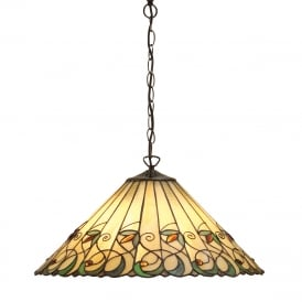JAMELIA Tiffany ceiling pendant in Art Noveau styling (large)