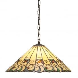 JAMELIA Tiffany ceiling pendant in Art Noveau styling (medium)