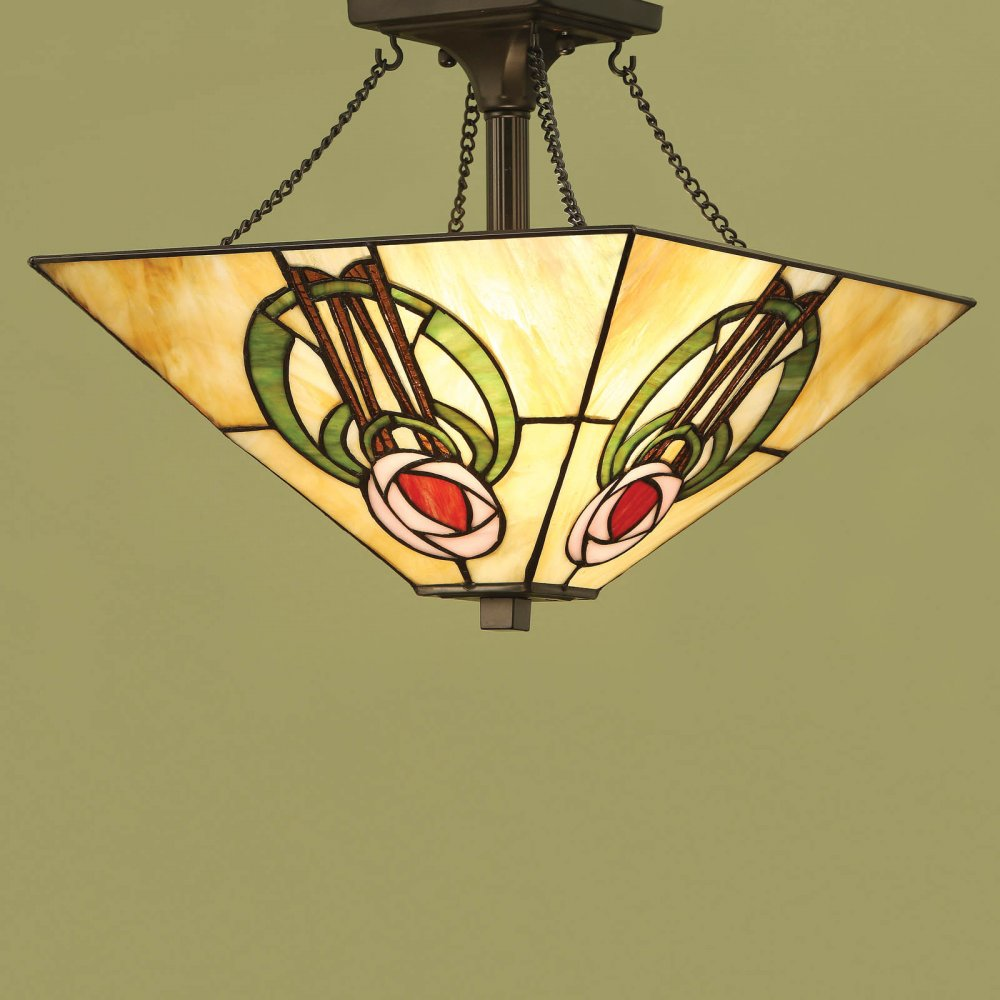 Arts And Crafts Semi Flush Tiffany Uplighter Ceiling