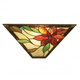 LELANI Tiffany flush fit wall light with floral motif