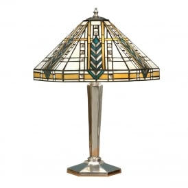 LLOYD Tiffany Art Deco table lamp on aluminium base