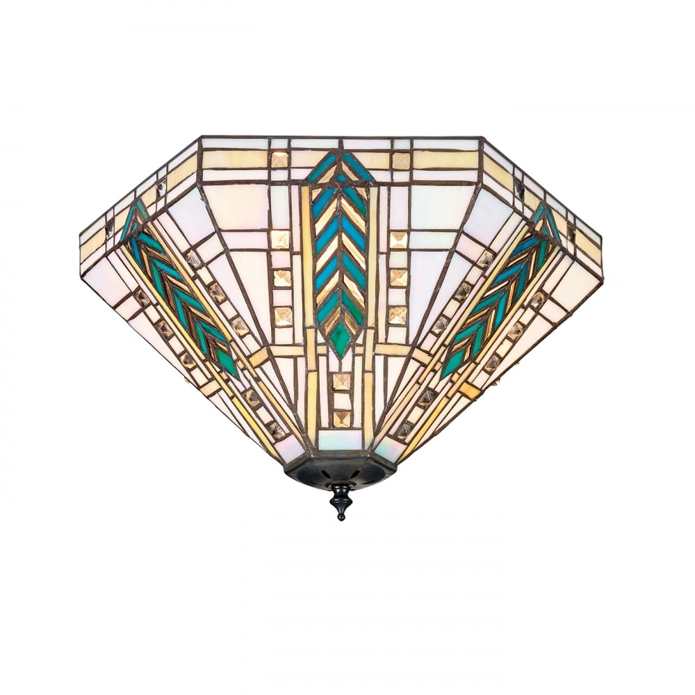 Tiffany Flush Fit Light for Low Ceilings in Classic Art Deco Design