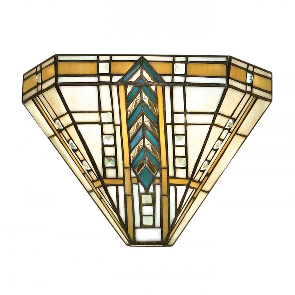 Tiffany art deco uplighter wall washer wall light with for Deco co