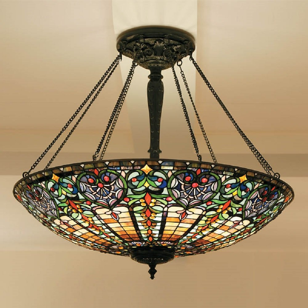 Very Large Tiffany Uplighter Ceiling Pendant Light In