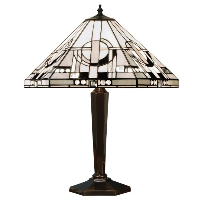 Kensington Tiffany Collection METROPOLITAN Art Deco style Tiffany table lamp, antique brass base