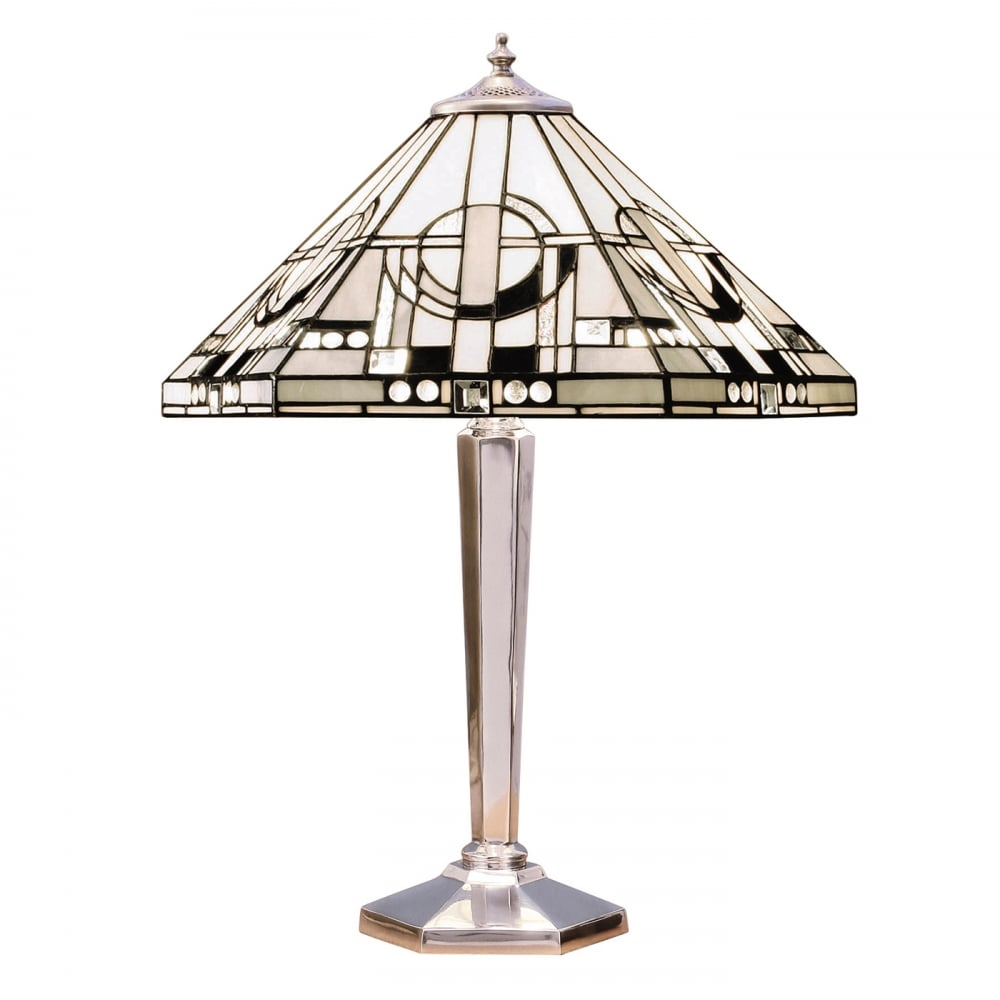 Art Deco Tiffany Table On Nickel Base Geometric White Shade With Black