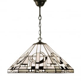 METROPOLITAN Tiffany Art Deco ceiling pendant light on bronze fitting - mediuim