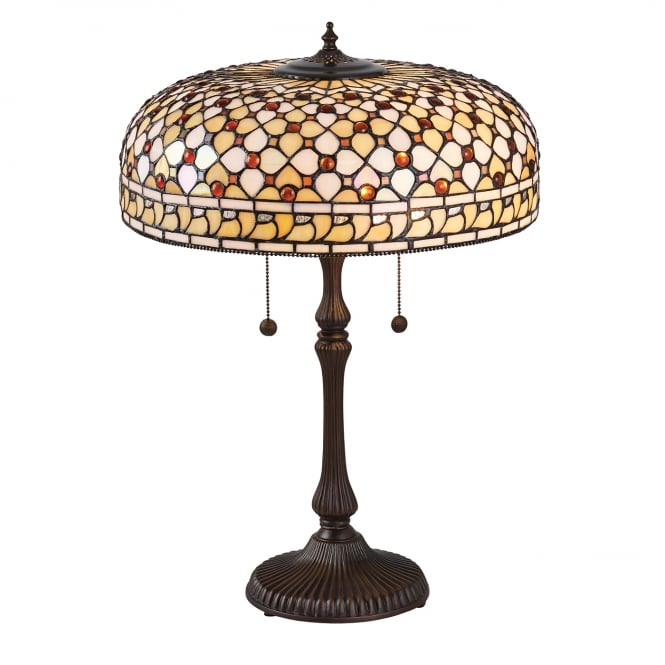 Kensington Tiffany Collection MILLE FEUX large Tiffany table lamp, cream and amber