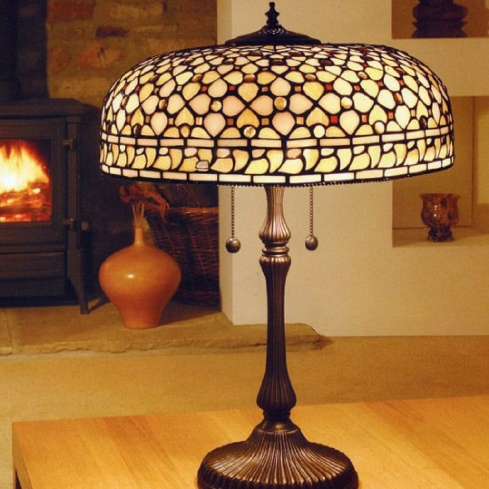 Classic large tiffany table lamp neutral colours in geometic pattern mille feux large tiffany table lamp cream and amber aloadofball Image collections