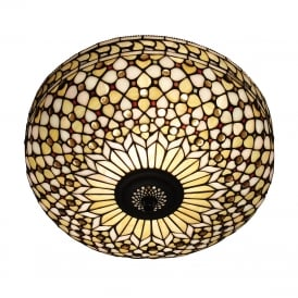 MILLE FEUX Tiffany flush ceiling light for low ceilings
