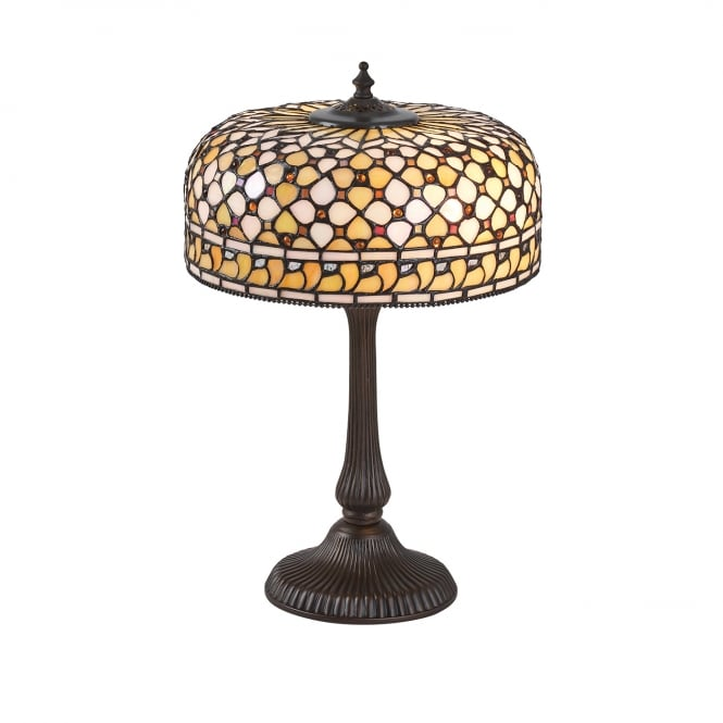 Kensington Tiffany Collection MILLE FEUX Tiffany table lamp in cream amber colours