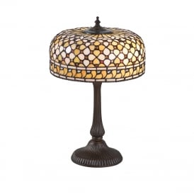 MILLE FEUX Tiffany table lamp in cream amber colours
