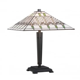 MISSION Art Deco style Tiffany table lamp on bronze base