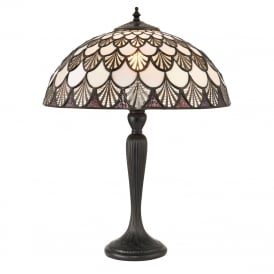 MISSORI medium brown and white Tiffany glass table lamp