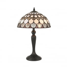 MISSORI small brown and white Tiffany glass table lamp
