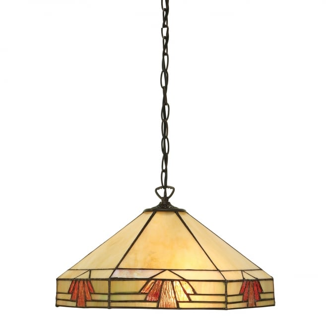 Kensington Tiffany Collection NEVADA Art Deco style pendant on a chain, for high ceilings