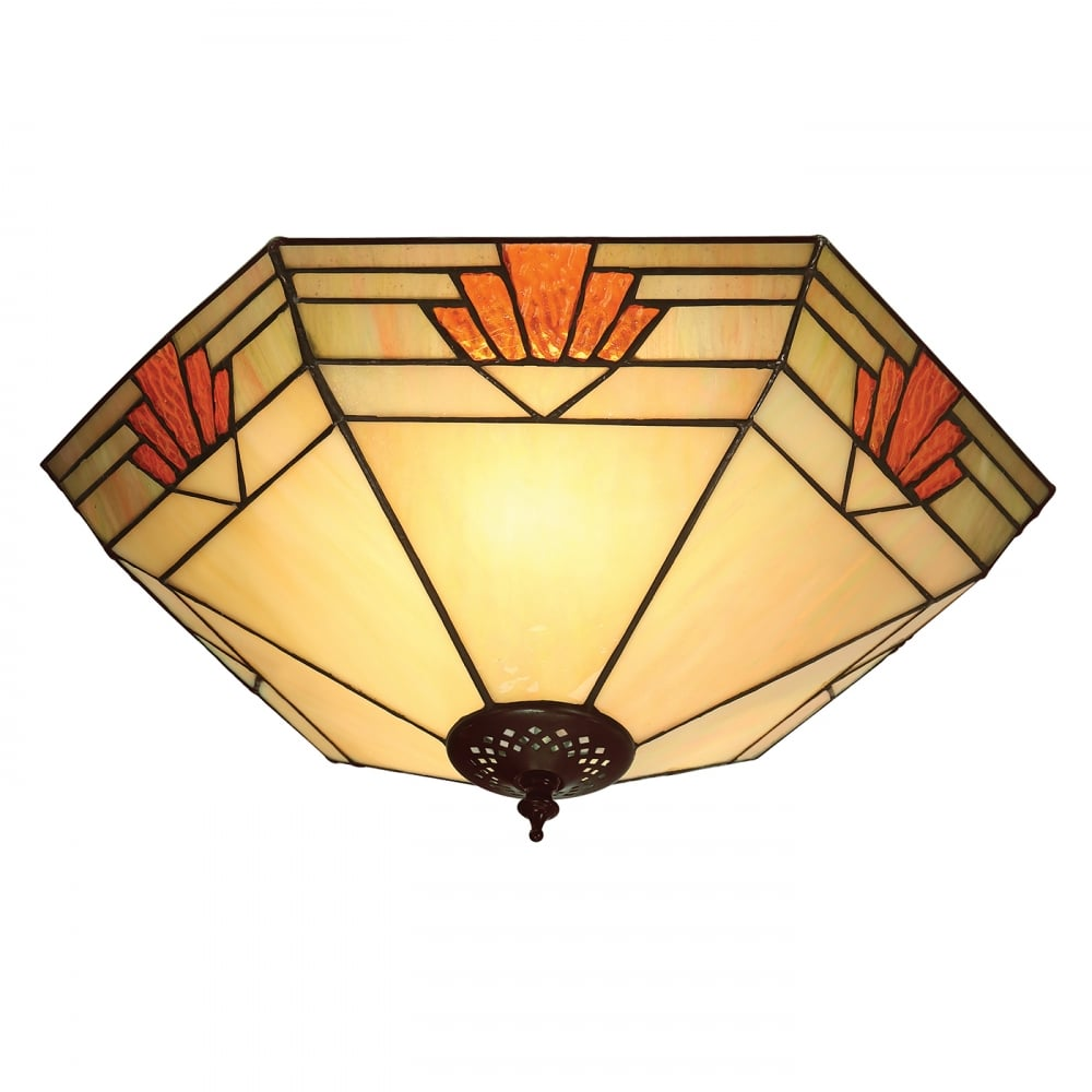 Tiffany Art Deco Flush Fitting Ceiling Light NEVADA 1930s Lighting