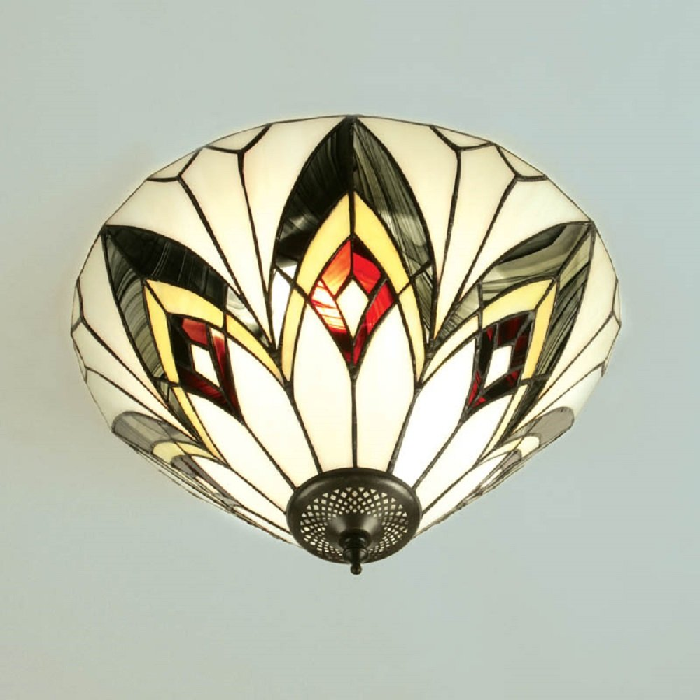 Flush Fitting Tiffany Ceiling Light With Art Deco Pattern Glass Shade
