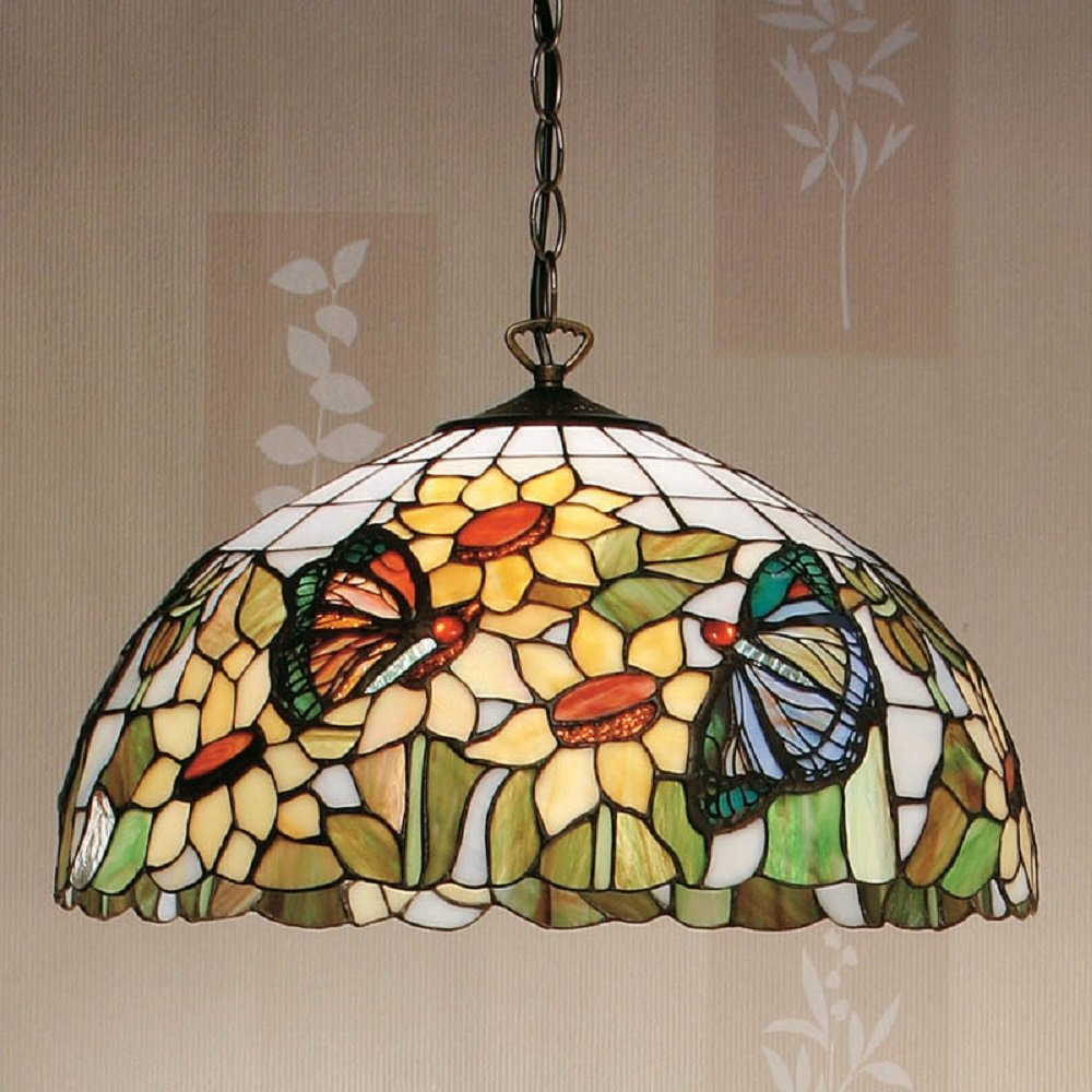 Long Drop Tiffany Ceiling Pendant in Floral Patterned ...