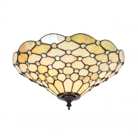 PEARL flush fit Tiffany ceiling light with warm cream shade