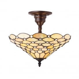 PEARL semi-flush Tiffany ceiling light with warm cream shade on bronze fitting